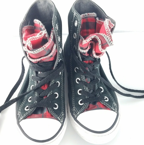 dd7d62d05768c3 Converse Other - Girls Black   Red Plaid Converse High Tops